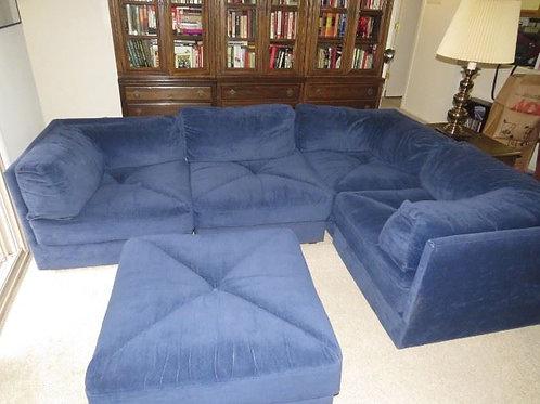 "Retro Vintage Navy Blue Modular Pit sofa brushed cotton 5pcs 33 x 33 x 25""T each"