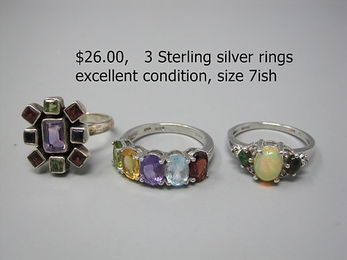 3 STERLING SILVER RINGS, SIZE 7ish