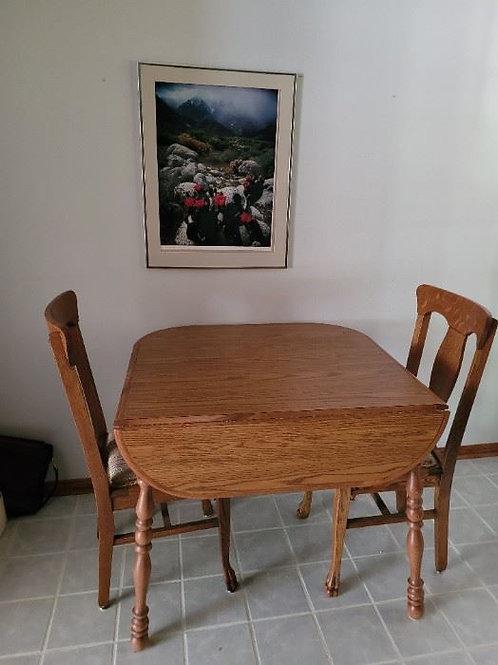 Small Dinette Style Oak Drop Leaf Table