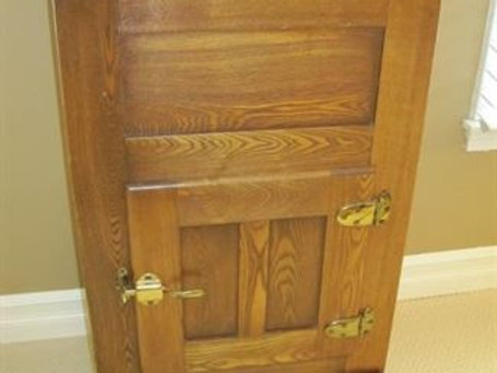 """Antique ice chest, 37"""" tall/21/16"""""""