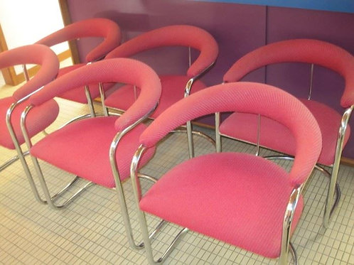 Set of 6 Red/Pink nubby Mid century Modern Chairs, Chrome and wool upholstery VG