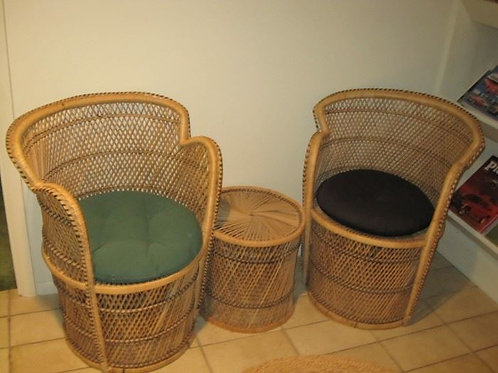 """22 x 30"""" chairs and wicker table, 3 piece set VG condition"""