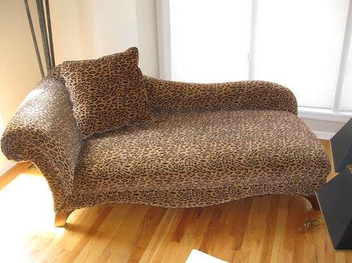 """Leopard Settee, excellent condition, 31""""d/74"""" l/31""""T"""