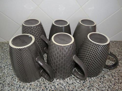 Set of gray coffee mugs vg condition