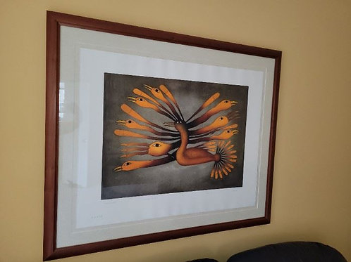 """Into the light"" aquatint on paper by Kenojuak Ashevak, Cape Dorset 39 x32 plus"
