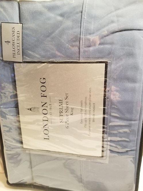 London Fog 6 piece King sheet set new, gray