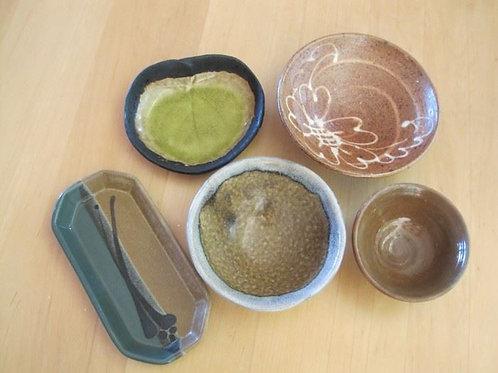 "Five pieces of Studio Art Pottery largest 6"""