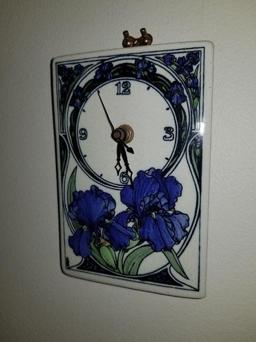 "Iris art pottery clock 10"""
