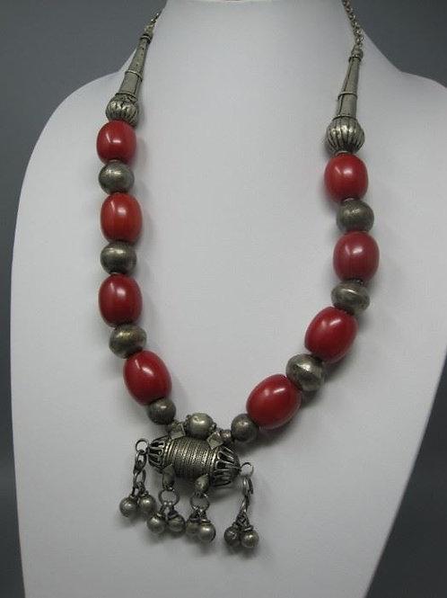 "Chunky Boho Silver & Bakelite beads 24"""