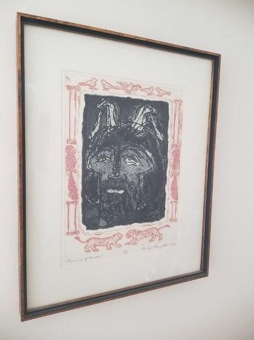 """12 x 16, color lithograph, """"porsenna of Camara"""", 15/30 by Rudy Pozzatti"""