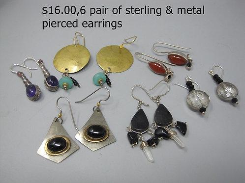 6 PAIR OF STERLING & METAL PIERCED EARRINGS