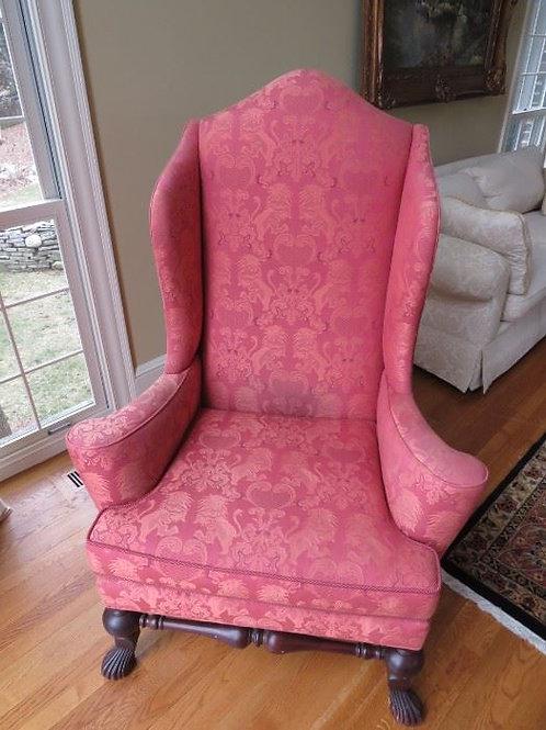 Raspberry Wing Back Chair, Baker