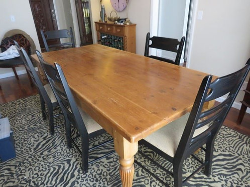 7' Country table with 6 chairs, shows some wear