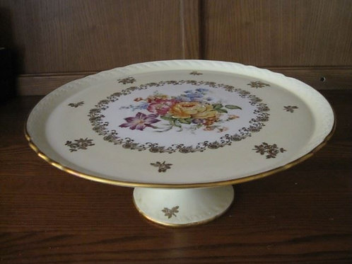 French hand painted pedestal cake plate