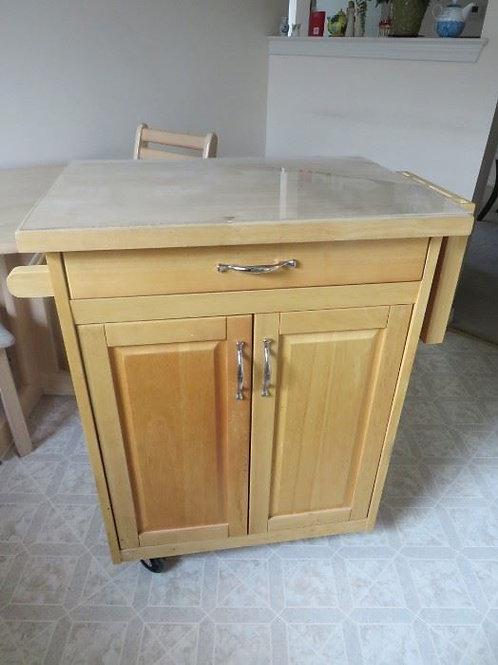 Butcher block storage cabinet