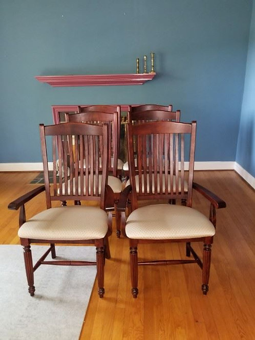 6 newer dining room chairs VG condition some light staining