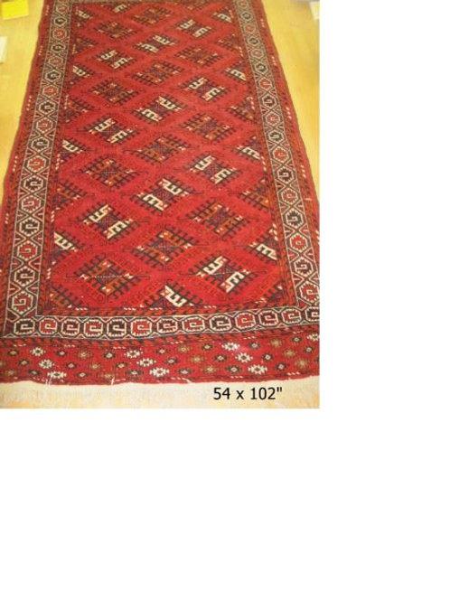 "Yomut Turkoman Design Carpet Handwoven all wool ca. 1990/2000, 8'6"" x 4'8"""