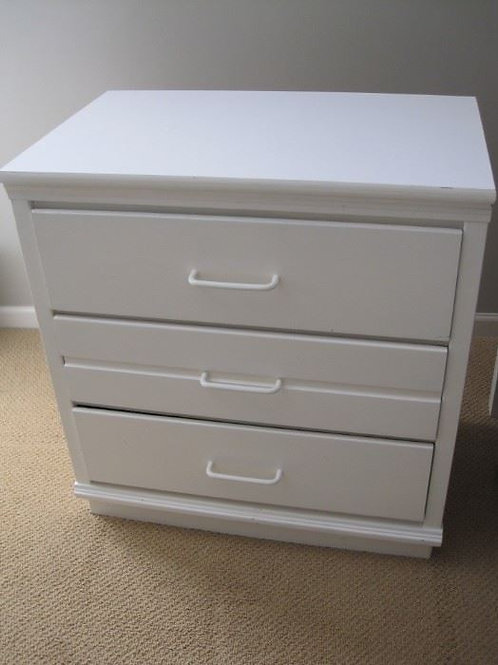 """3 drawer white chest side table 28/18/30"""""""