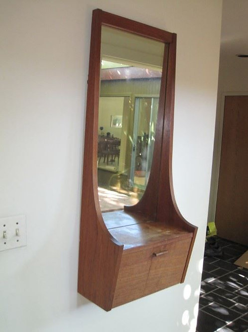MCM Teak mirror and drawer, ledge has water stain