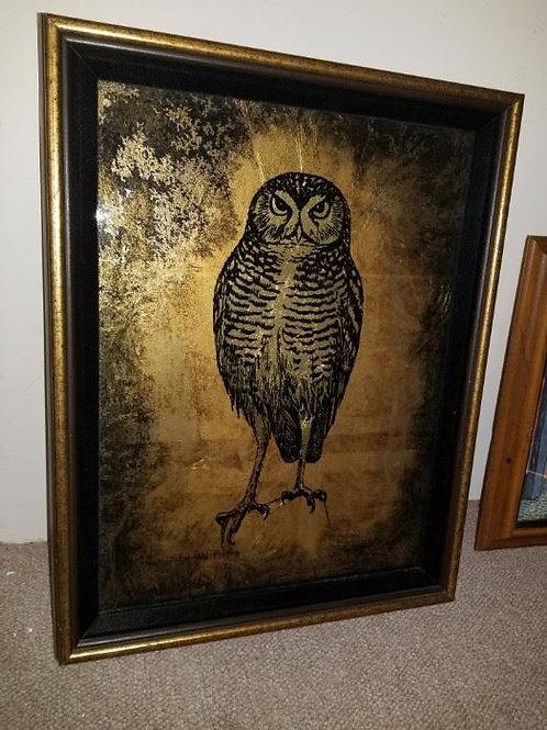 Jack White Gold Leaf Reverse paint Owl