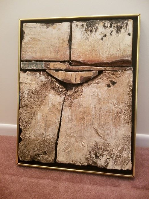 """17 x 21 , mixed media, oil and styrofoam modern composition """"Arc"""" by Ronald Chas"""