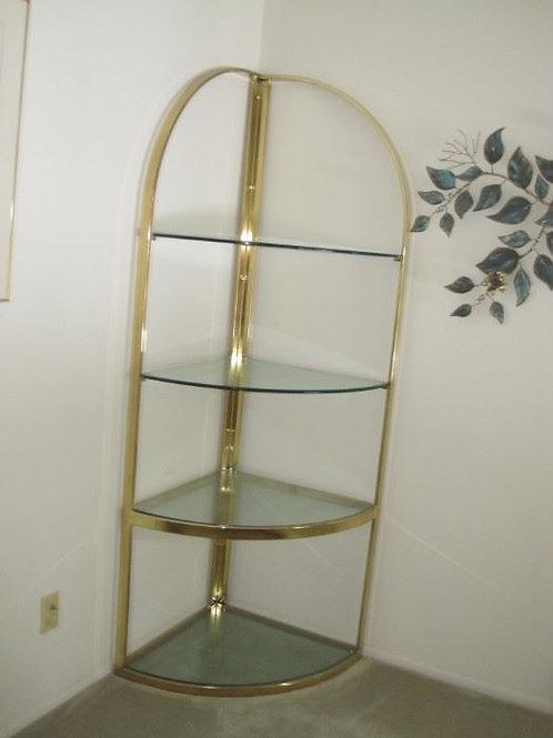 "Gold tone corner glass etagere 72"" tall x 23"" d"