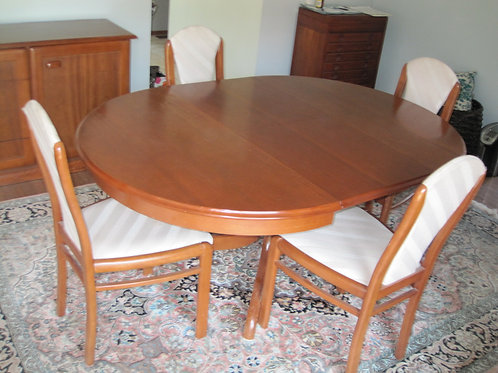 Purchased in Australia Cherry wood dining table & chairs