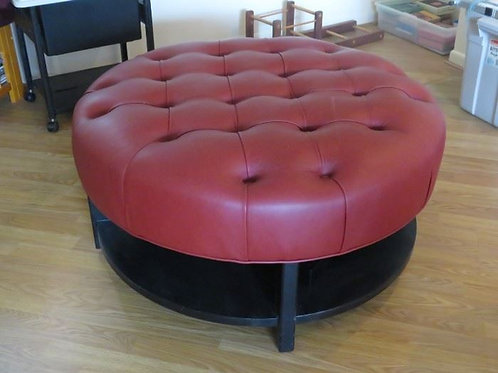 Arhaus Red Leather Center Ottoman Coffee Table