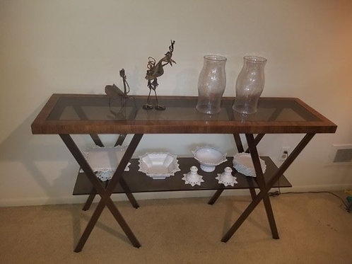 """Drexel Heritage MCM serving table 5' wide by 34"""" tall smoke & glass bronze metal"""