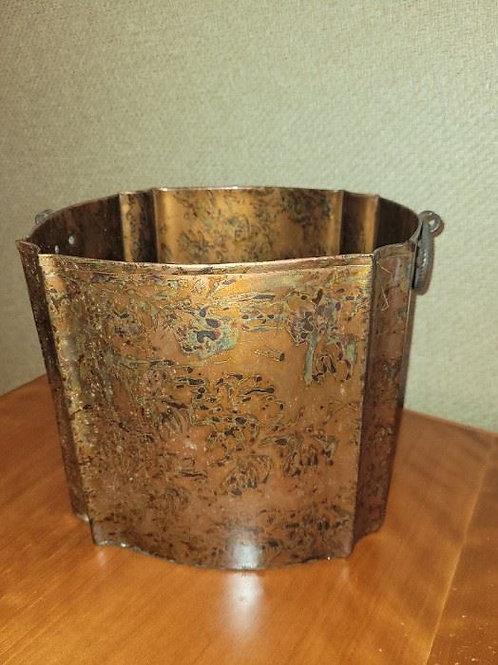 """Metallic waste basket or planter 10 x 8"""""""