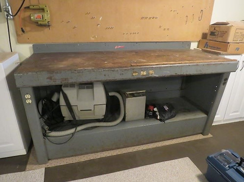 "Vintage steel and wood workbench 70"" x 28"" with electricity"