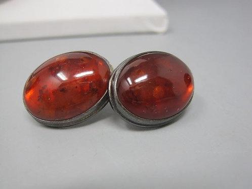 "Real Amber & sterling pierced earrings (no backs) .75"""