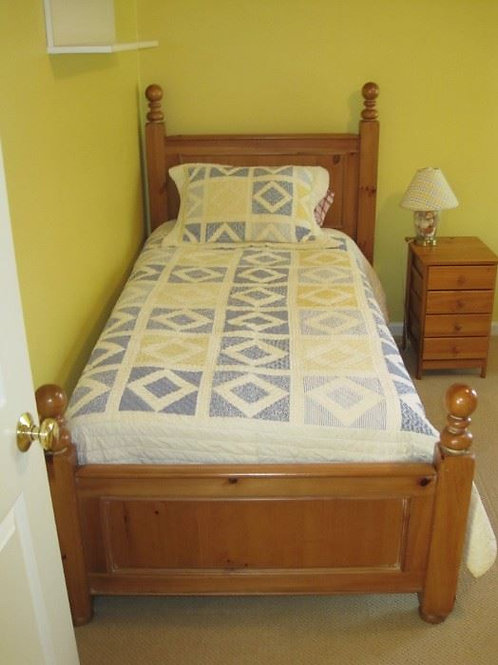 Pine twin bed with mattress and box spring VG condition