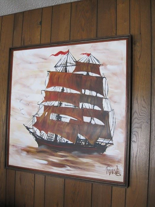 "Reynolds original ship painting 42 x 42"""