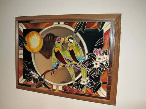 Stained Glass Toucan love birds 3' x 26""