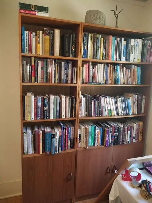 2 sets of teak bookshelves with bottom doors, books not included