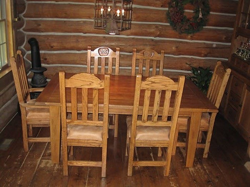Custom Solid Oak Ranch Dining room table & chairs