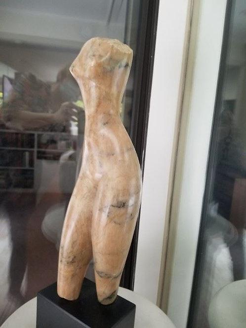 "15"" pink alabaster sculpture titled walking figure by sculptor Michael Barkin"