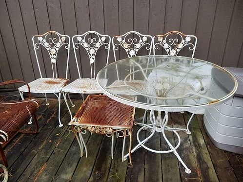 Woodward Patio Furniture. Structurally sound but needs sanding and painting.