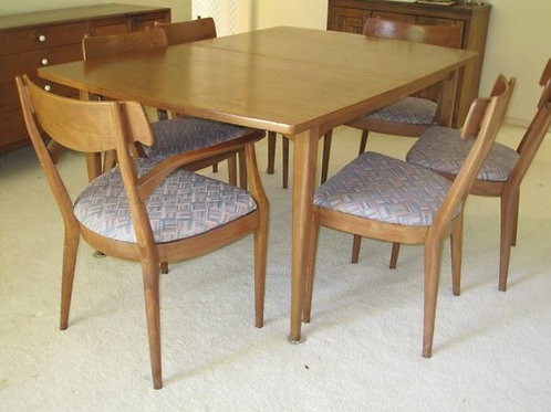 Drexel MCM Modern Dining room table & 6 Chairs - Walnut?? VG condition