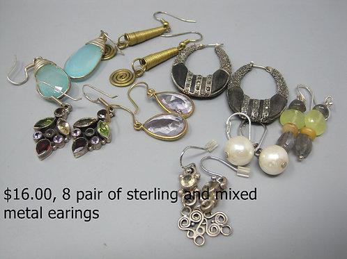 8 PAIR OF STERLING & MIXED METAL EARRINGS
