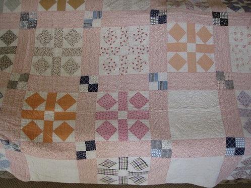 """Vintage hand stitched quilt 72 x 78"""" Good condition gentle wear"""