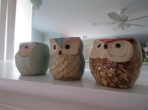 3 Owl candle votives