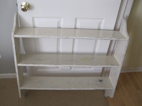 "Distressed painted wall shelf, 35 x 35 x 8"" deep"