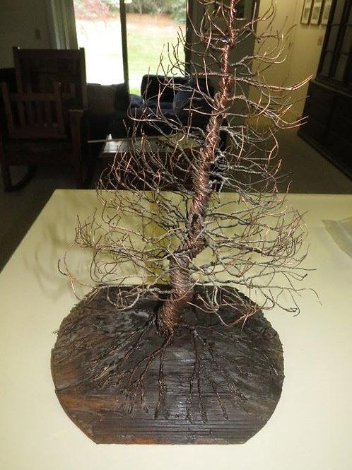 """16"""" Copper sculpture wood base"""