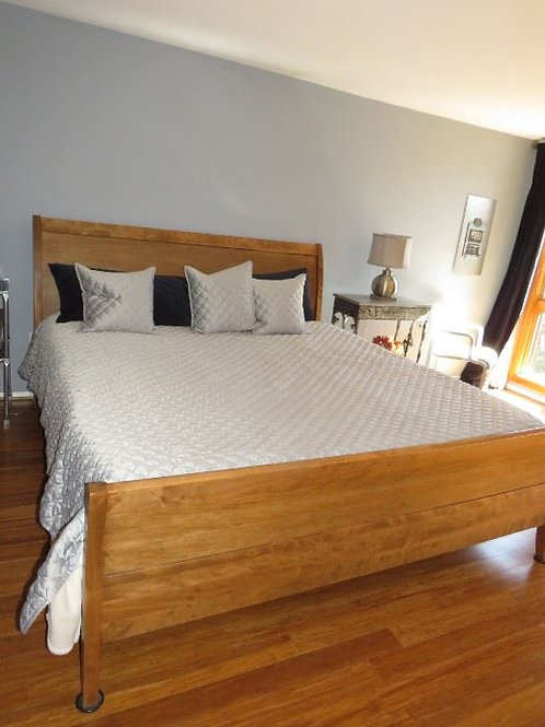 King Cherry Sleigh Bed Frame
