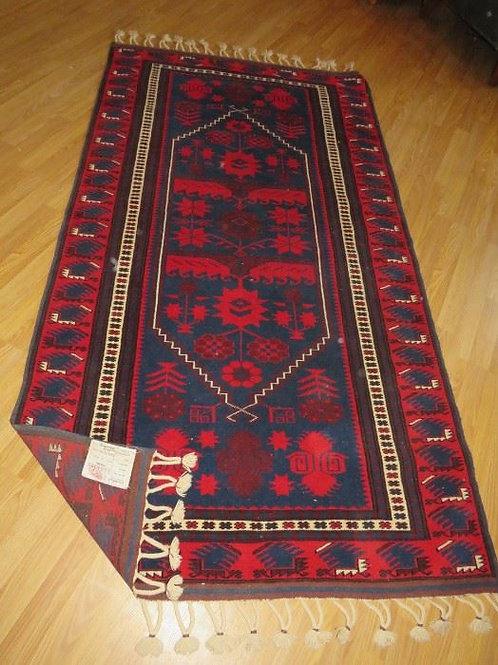 Red & Royal Blue Wool Rug