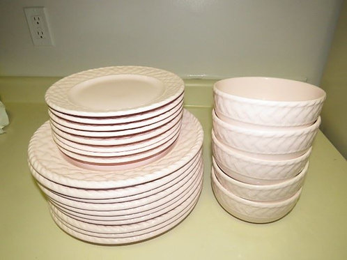 """Market Place 11"""" Dinner set like new, pale pink like new"""