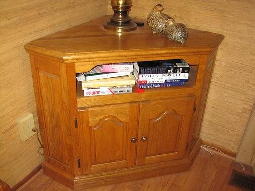 "Oak Corner cabinet VGC 30"" tall and 27"" deep"