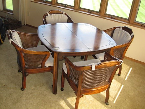 Game table or dining table with leaves, chairs on coasters